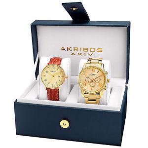 【送料無料】mens akribos xxiv ak884yg casual goldtone bracelet and leather strap watch set