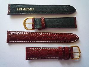 【送料無料】1 bracelet montre vintage cuir faon croco brunrouge surpiqure blanche 19mm