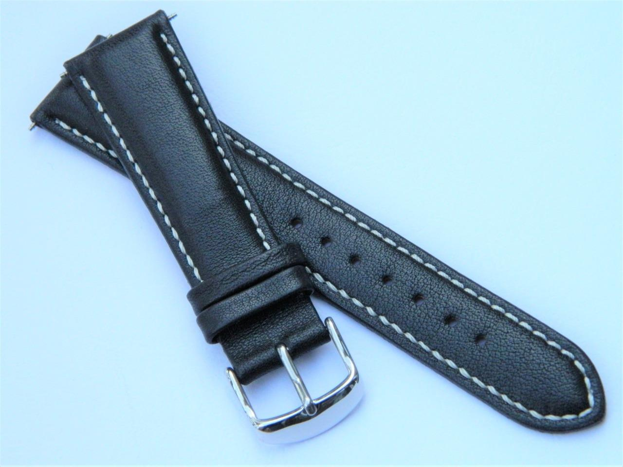 classic styling smooth semimatt genuine calf leather padded watch strap