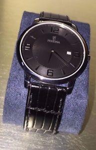 【送料無料】festina orologio acciaio pelle correa classic nero elegante datario