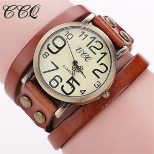 【送料無料】ccq fashion vintage cow leather bracelet watches women dress wristwatch quartz w