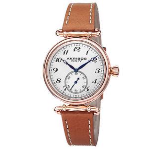 【送料無料】 womens akribos xxiv ak704br elegant swiss quartz brown leather strap watch