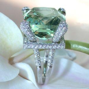 【送料無料】elegant green gem zircon ring wedding crystal silver color rings trendy jewelry