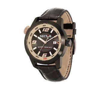 【送料無料】orologio solo tempo uomo sector oversize r3251102019 acciaio pelle marrone oro