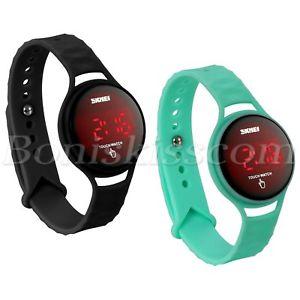 【送料無料】men women student sport waterproof led touch screen silicone digital wrist watch