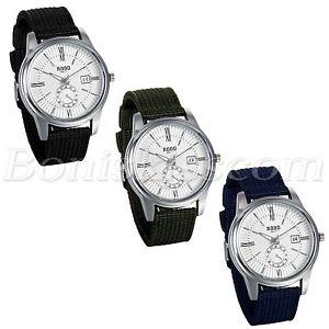 【送料無料】mens business casual roman numberals nylon strap date quartz dress wrist watch