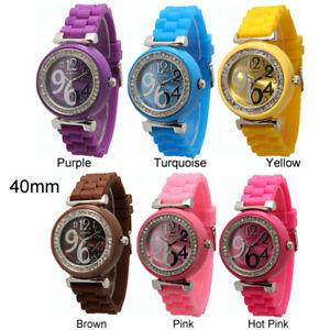 【送料無料】silicone cz rubber strap fashion watch 40mm