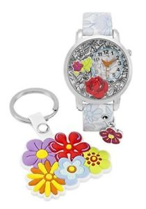 【送料無料】time design kids children quartz analogue floral watch key ring set gift present