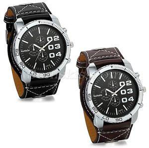 【送料無料】mens army military leather strap quartz decoration analog wrist watch watches