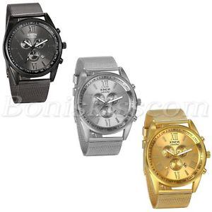 【送料無料】men luxury business roman numberals mesh stainless steel date quartz wrist watch