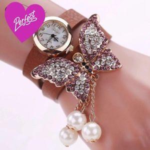 【送料無料】watch for women leather quartz luxury butterfly wristwatch bracelet