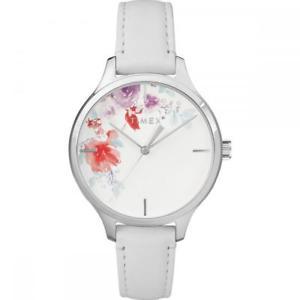 【送料無料】orologio donna timex crystal bloom tw2r66800 vera pelle bianco fiori