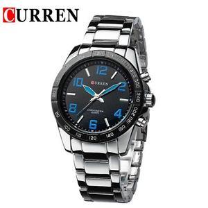 【送料無料】orologio polso curren 8107 uomo analogico quarzo moderno silver quadr blu lac