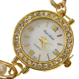 【送料無料】womens girls crystal analogue gold amp; pearl chain quartz fashion wrist watch