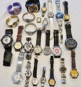 【送料無料】lot of 25 men amp; womens quartz wristwatches some working, some not 2