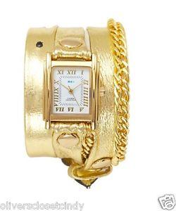 【送料無料】la mer collections glam gold chain gold leather wrap watch