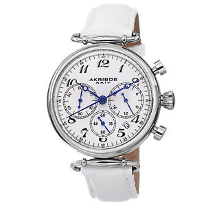 【送料無料】 womens akribos xxiv ak630ssw quartz chronograph white leather strap watch