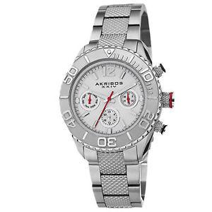 【送料無料】womens akribos xxiv ak695ss multifunction pattern etched steel bracelet watch