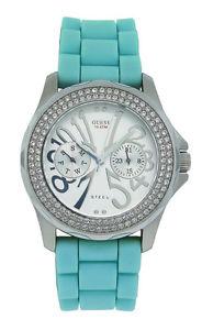 【送料無料】guess steel 11046l4 womens analog day date swarovski aqua silicone watch