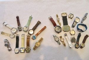 【送料無料】lot of 25 men amp; womens quartz wristwatches some working, some not 8