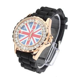 【送料無料】rhinestone gold stainless steel uk flag silicone quartz wrist watch
