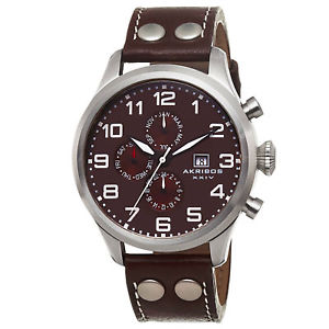 【送料無料】 mens akribos xxiv ak664br swiss quartz multifunction brown leather watch