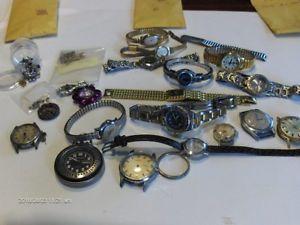 【送料無料】1 14lbs of rare antique and vintage wrist watch parts,cases, look