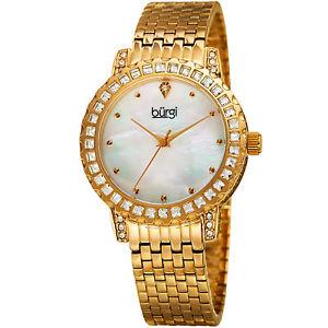 【送料無料】womens burgi bur176yg thirty six crystals bezel mother of pearl bracelet watch