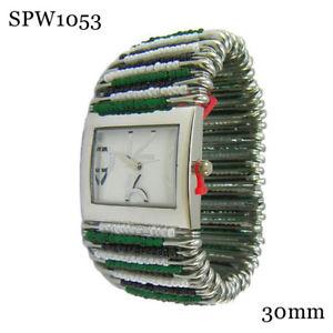【送料無料】safety pin beaded fashion watch 30mm whitegreen