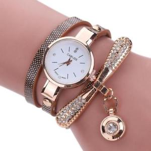 【送料無料】relogio leather rhinestone analog quartz watch