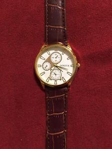 【送料無料】 geneva luxury gold genuine brown leather mens womens quartz watch fashion
