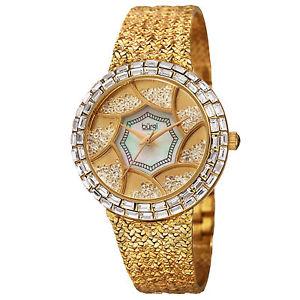 【送料無料】womens burgi bur118yg floating crystals mother of pearl hammered bracelet watch