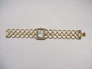 【送料無料】miyota ladies designer watch quartz goldtone, rhinestones