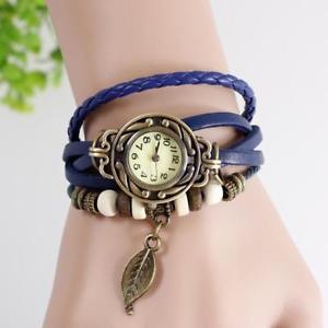 【送料無料】montre bracelet cuir bleu vintage vintage blue leather bracelet watch