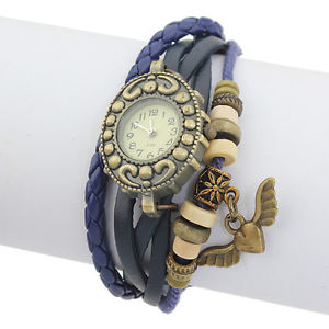 【送料無料】leather angel beads bronze knit vintage bracelet women wrist watch