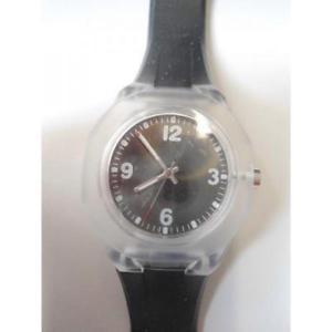 【送料無料】orologio da polso quadrante nero cinturino in plastica