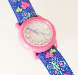 【送料無料】timex t89001 kids purplepink butterfly analog watch elastic fabric