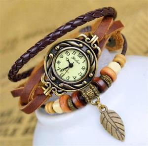 【送料無料】montre bracelet cuir marron vintage vintage brown leather bracelet watch