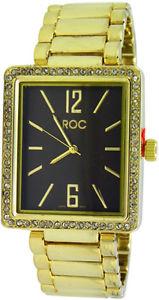 roc ladies enamelled rectangle cz bracelet fashion watch