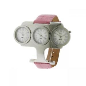 【送料無料】orologio donna oiw trial time pelle rosa madreperla bianco 3 quadranti w3