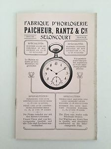 【送料無料】document fabrique dhorlogerie montre de poche pecheur rantz amp; cie seloncourt
