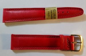 【送料無料】bracelet montre fleurus, vachette de luxe rouge piqre rouge 20 mm, 114 7 20