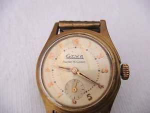 ancienne montre mcanique gewa  plaqu or  ancre 15 rubis  vbb60
