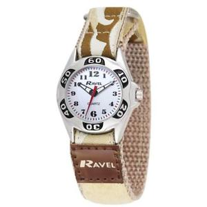 【送料無料】ravel boys beige army camouflage fabric easy fasten strap watch r150708