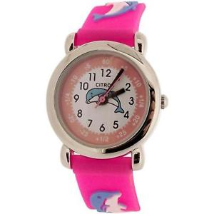 【送料無料】citron analogue kids time teacher dolphin design pink silicone strap watch kid17