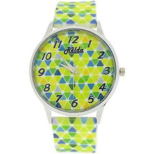 【送料無料】relda ladies analogue green yellow amp; blue harlequin silicone strap watch rel96