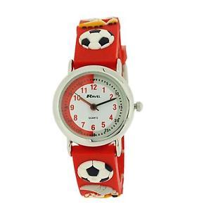 【送料無料】ravel time teacher kids football red rubber watch telling time award r151332r