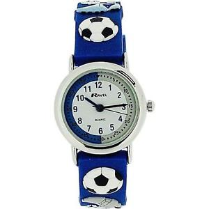 【送料無料】ravel time teacher kids boys 3d football blue rubber strap watch r151332b