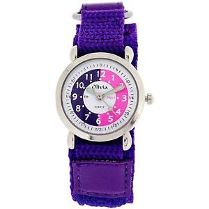 【送料無料】the olivia collection time teacher purple easy fasten watch telling time award
