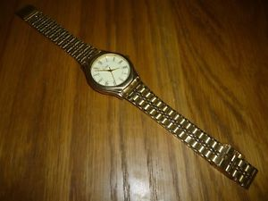 【送料無料】limit mens gold plated stainless steel quartz watch working watch wristwatch